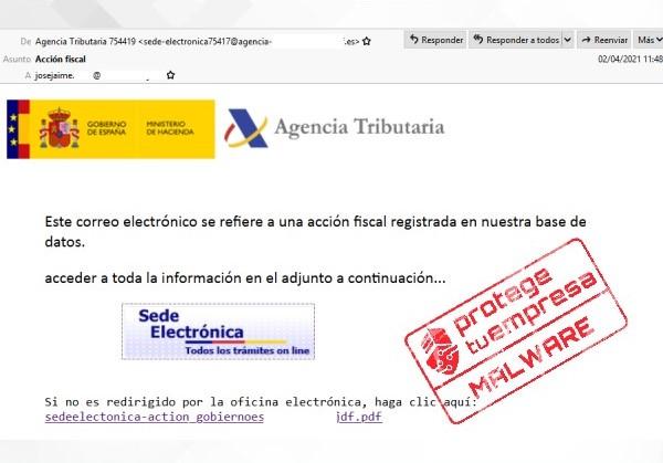 Correo malicioso suplantando a la Agencia Tributaria con intención de distribuir malware